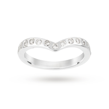 18 Carat White Gold 0.22 Carat Total Weight Diamond Wishbone Wedding Ring