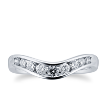 Brilliant Cut 0.33 Carat Total Weight Diamond Set Ladies Shaped Wedding Ring in 18 Carat White Gold