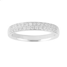 Brilliant Cut 0.42 Carat Total Weight Double Row Ladies Wedding Ring in 18 Carat White Gold