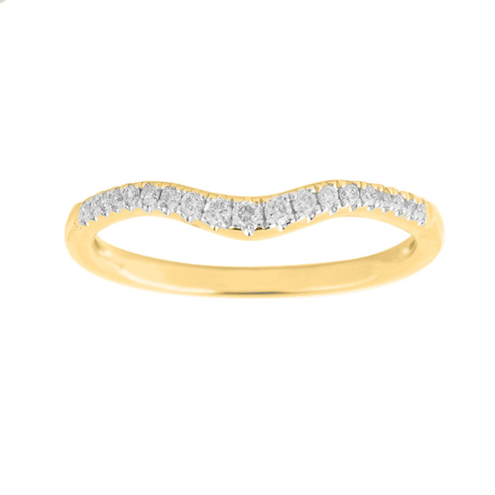 Image of Brilliant Cut 0.15 Carat Total Weight Diamond Set Ladies Shaped Wedding Ring in 18 Carat Yellow Gold - Ring Size I