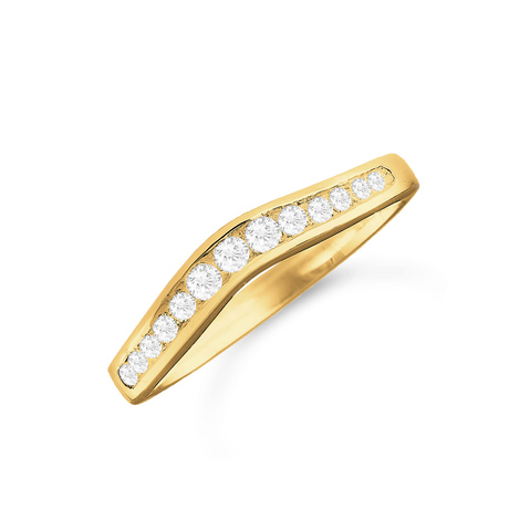 18ct Yellow Gold 0.26cttw Diamond Shaped Wedding Ring
