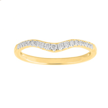Brilliant Cut 0.15 Carat Total Weight Diamond Set Ladies Shaped Wedding Ring in 18 Carat Yellow Gold