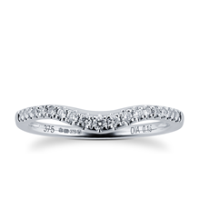 Brilliant Cut 0.15 Carat Total Weight Diamond Set Ladies Shaped Wedding Ring in 9 Carat White Gold