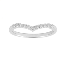 Brilliant Cut 0.20 Carat Total Weight Diamond Set Ladies Shaped Wedding Ring in 9 Carat White Gold