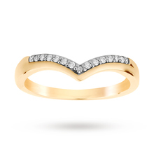 18ct Yellow Gold 0.09 Total Carat Weight Diamond Set Shaped Band