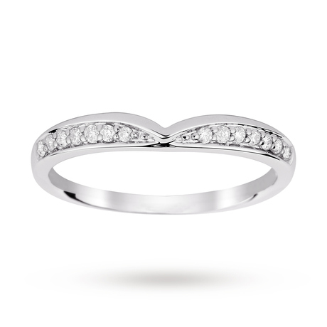 For Her - 9ct White Gold 0.12 Total Carat Weight Diamond Set Shaped Band - M08220363
