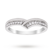 9ct White Gold 0.15 Total Carat Weight Diamond Set Shaped Band