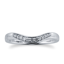 9ct White Gold 0.10 Total Carat Weight Diamond Set Shaped Band