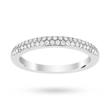9ct White Gold 0.25 Total Carat Weight Pave Diamond Set Band