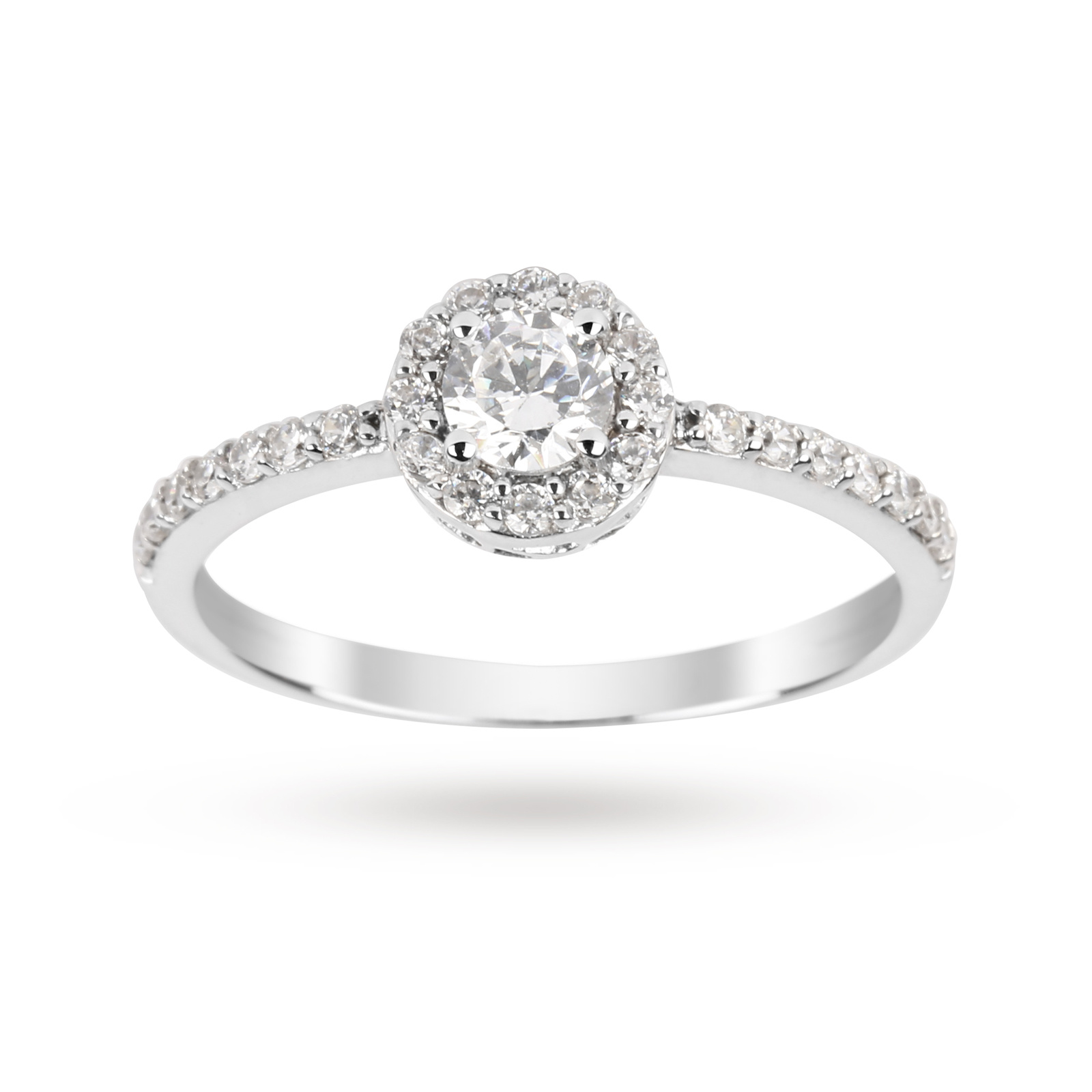 Brilliant Cut Cubic Zirconia Ring In 9 Carat White Gold