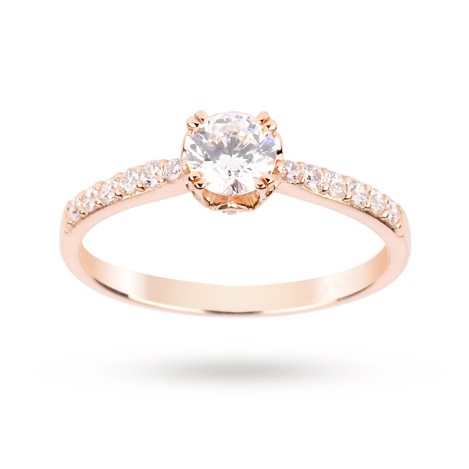 Cubic Zirconia Solitaire Ring in 9 Carat Rose Gold