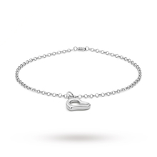 9ct White Gold Heart Bracelet