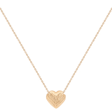 9ct Rose Gold Diamond Cut Sliding Heart Necklace