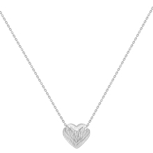 9ct White Gold Diamond Cut Sliding Heart Necklace