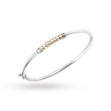 9ct white gold bangle with multi colour gold beads
