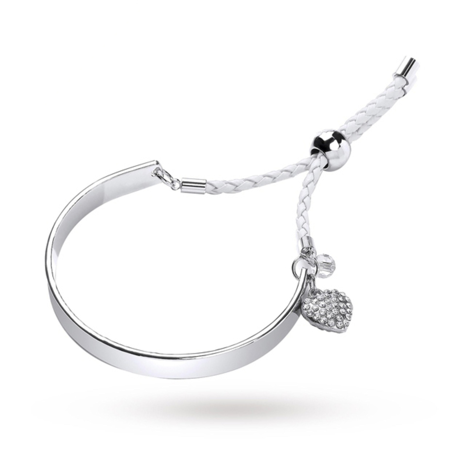 White Cord Bangle With Crystal Heart Charm