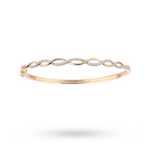 9ct Yellow Gold 0.25ct Diamond Interlace Bangle