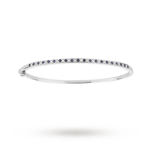 9ct White Gold Sapphire 0.40ct And 0.25ct Diamond Channel Set Bangle