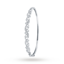 9ct White Gold 0.15 Carat Total Weight Diamond Leaf Bangle