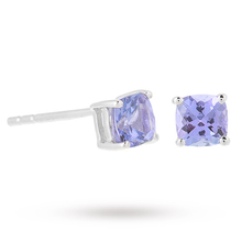 9ct White Gold Tanzanite Cushion Stud