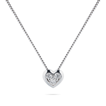 9ct White Gold Diamond Set Heart Pendant