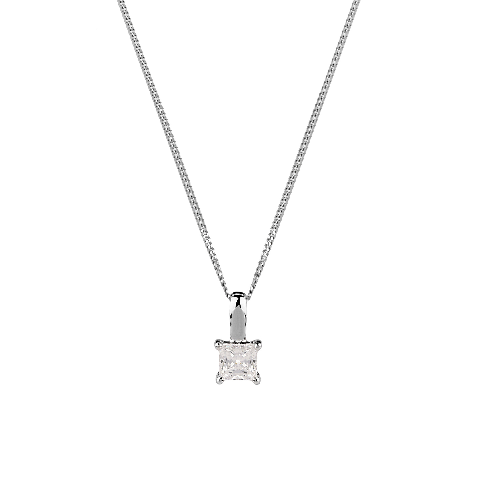 18ct White Gold 0.50ct Princess Cut Diamond Pendant