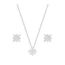 9 Carat White Gold 0.50 Carat Pendant and Earrings Set
