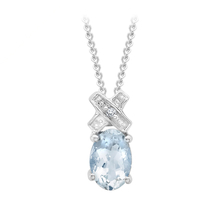 9ct White Gold Diamond and Aquamarine Kiss Pendant