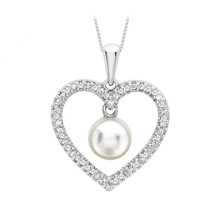 9ct White Gold Diamond and Pearl Heart Pendant