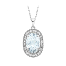 9ct White Gold Diamond and Blue Topaz Pendant