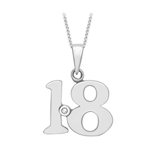 9ct White Gold Diamond Set '18' Pendant