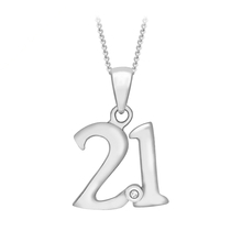 9ct White Gold Diamond Set '21' Pendant
