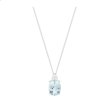 9ct White Gold Aquamarine Oval Pendant