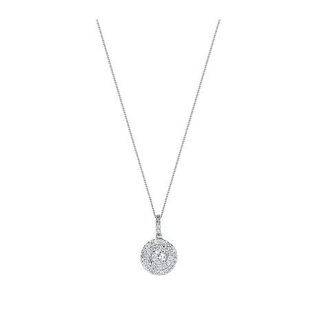 18 Carat White Gold 0.50 Carat Total Weight Halo Pendant