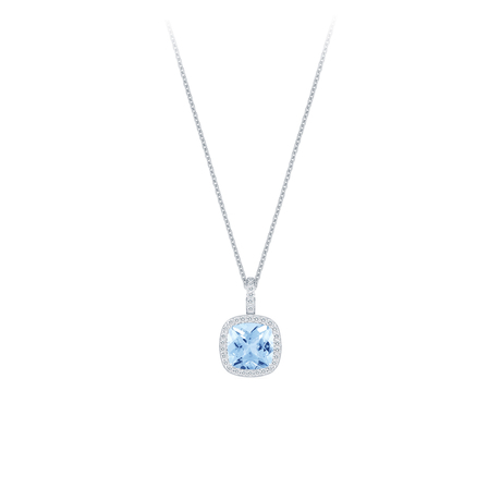 Carrington 18ct White Gold 5.10ct Blue Topaz and 0.45cttw Diamond Pendant