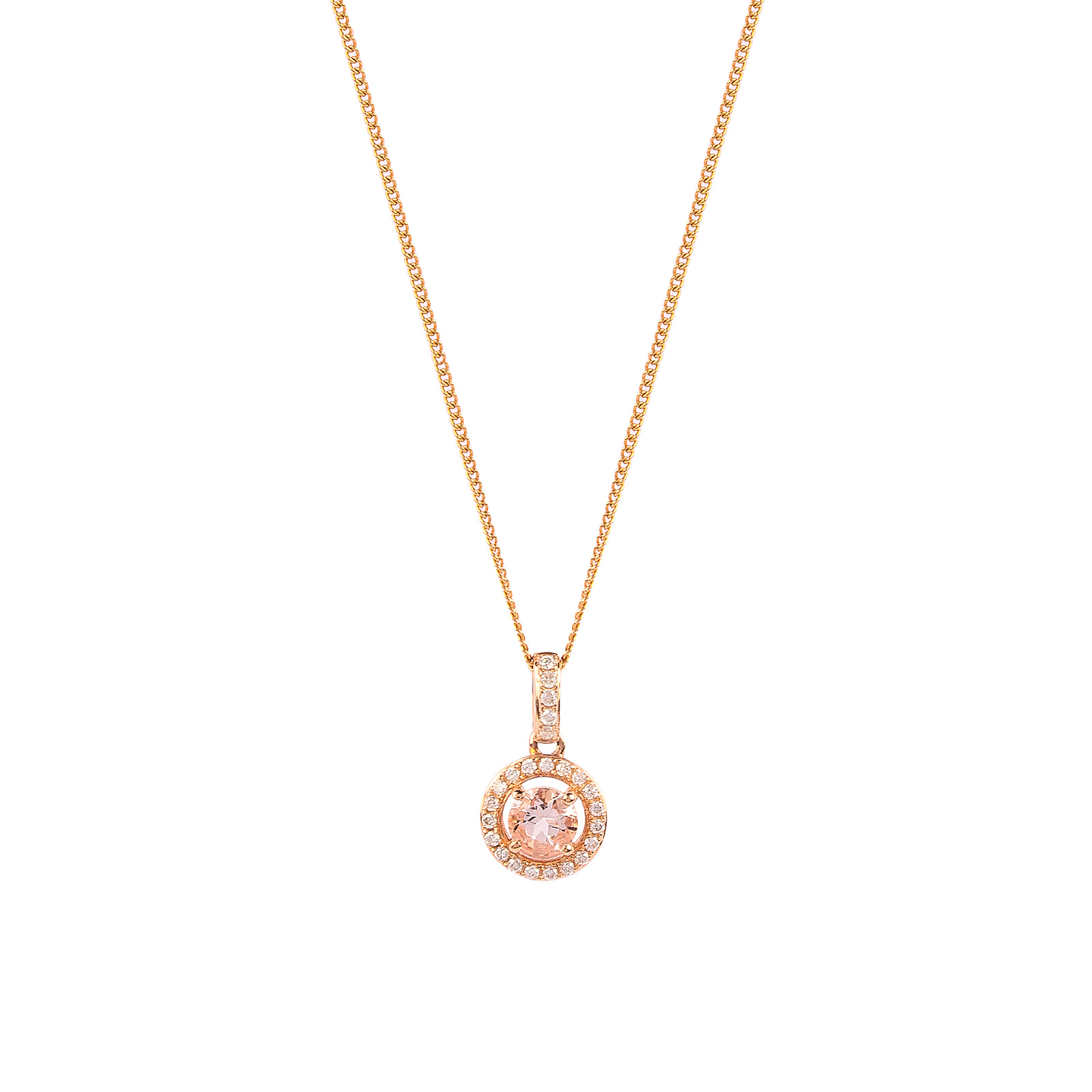 9ct Rose Gold 0.27ct Morganite and Diamond Halo Pendant