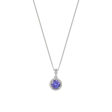 9ct White Gold Tanzanite and Diamond Halo Pendant