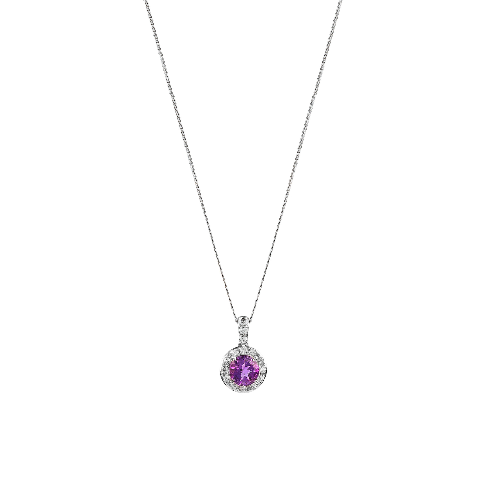 9ct White Gold Amethyst and Diamond Halo Pendant