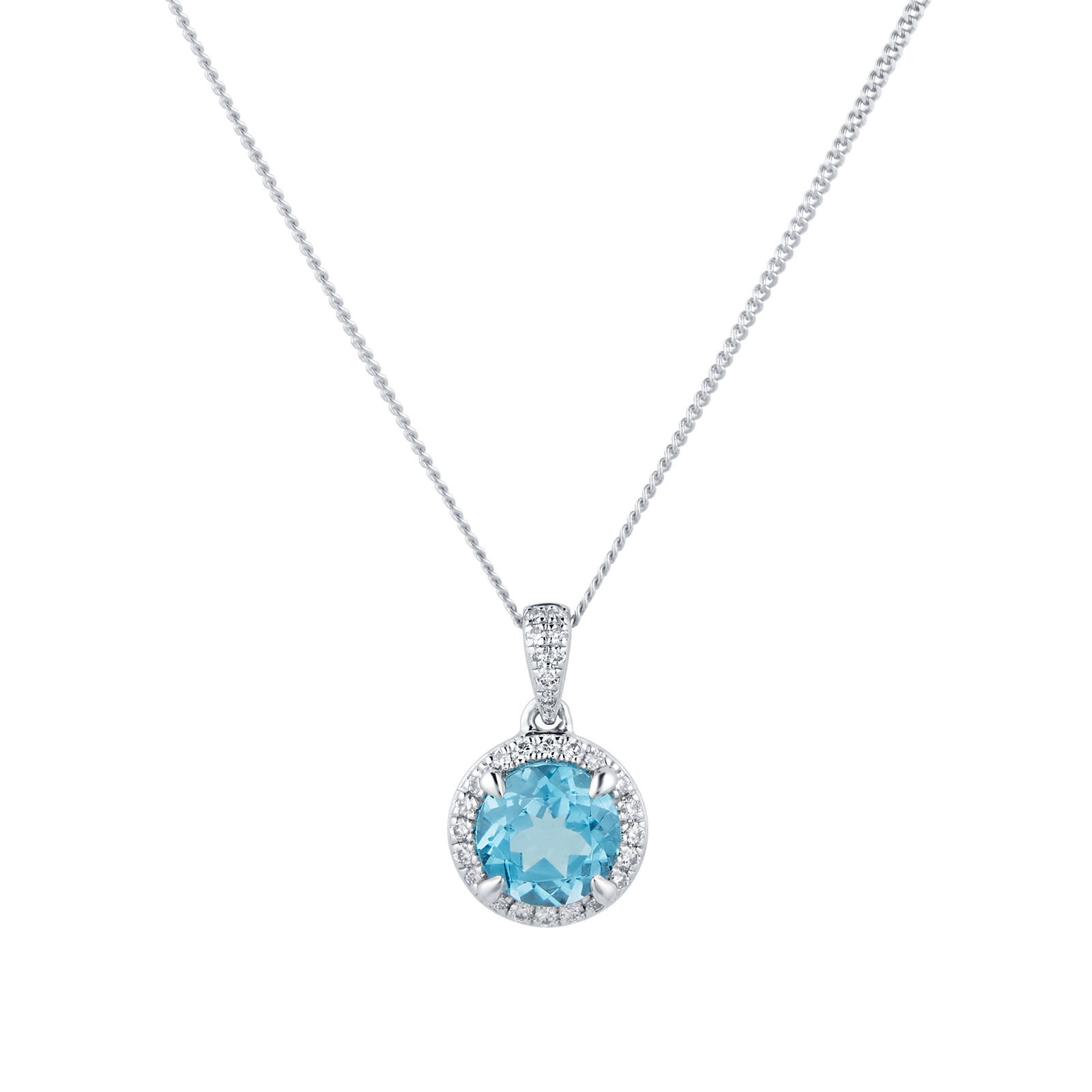 9ct White Gold Blue Topaz and Diamond Halo Pendant