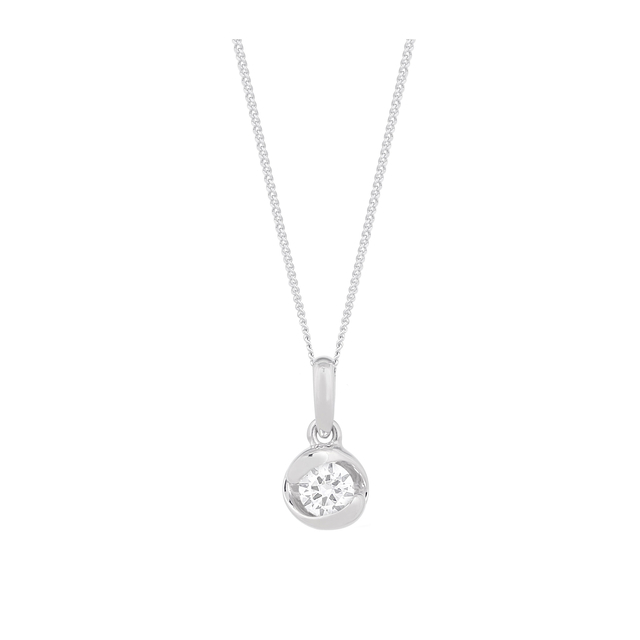 9ct White Gold 0.15ct Diamond Pendant