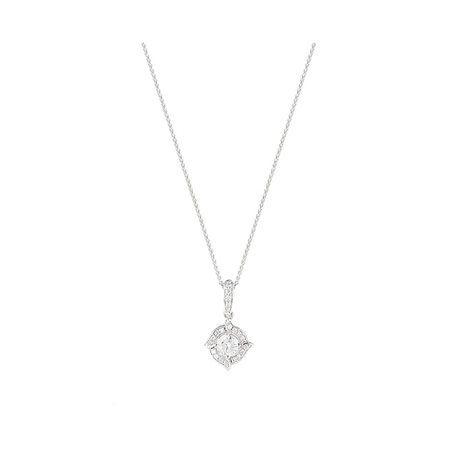 18ct White Gold 0.50ct Diamond Rosette Halo Pendant