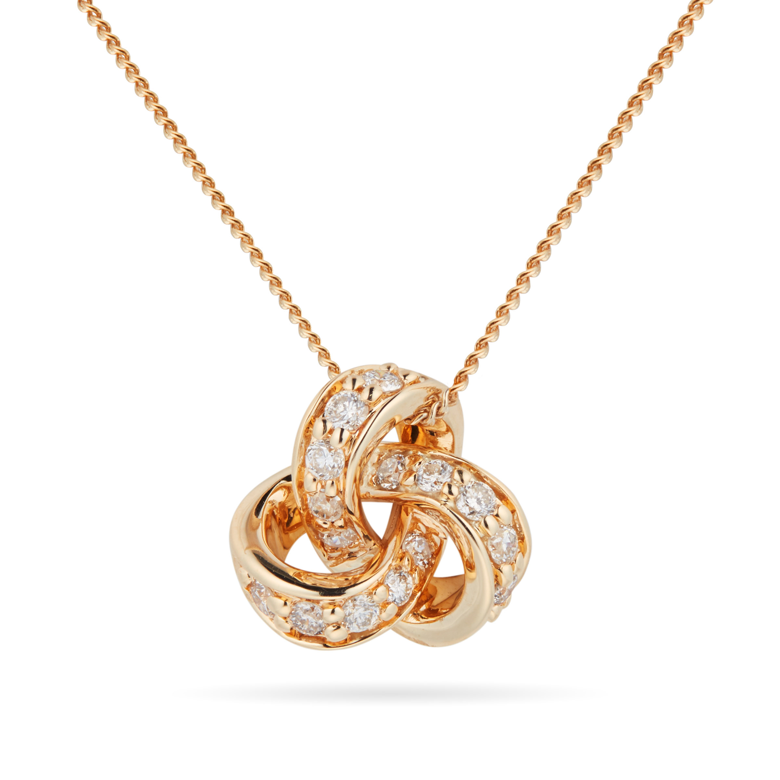 9ct Yellow Gold 0.15cttw Diamond Knot Pendant