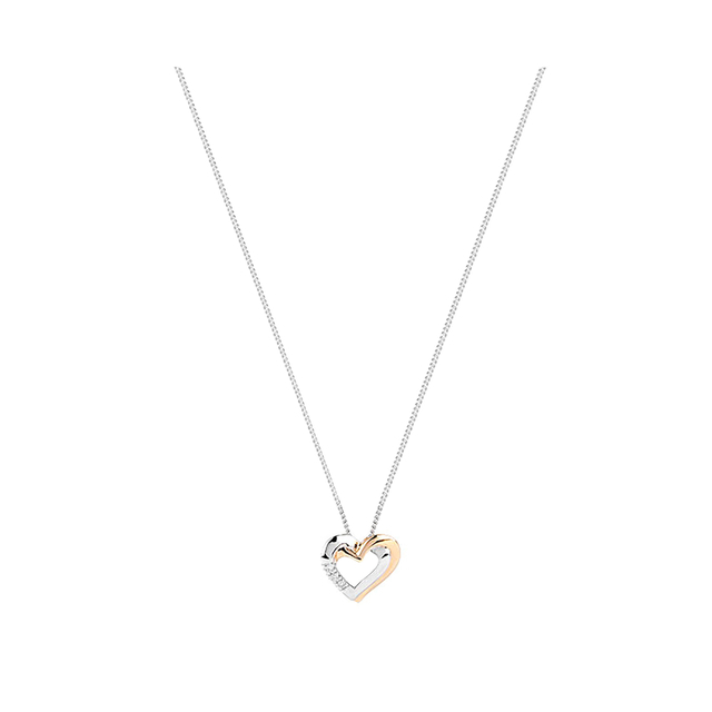 9ct White And Yellow Gold Diamond Heart Pendant