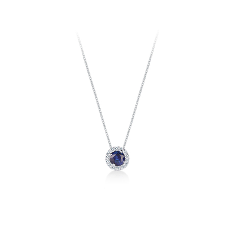 Carrington Blue Sapphire Pendant in 18ct White Gold