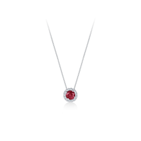 Carrington Ruby Pendant in 18ct White Gold