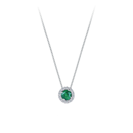 Carrington 18ct White Gold 0.82ct Emerald and 0.20cttw Diamond Pendant