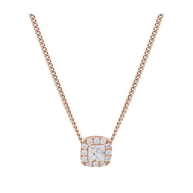 9ct Rose Gold 0.30ct Princess Cut Diamond Halo Pendant