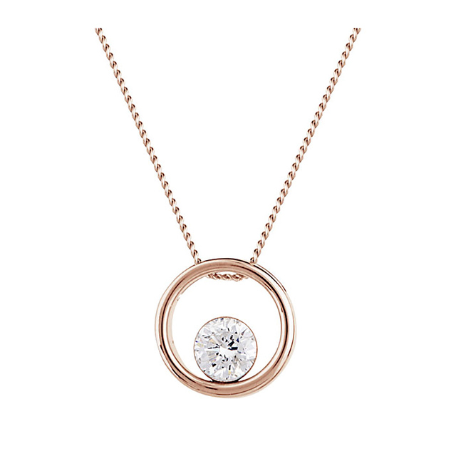 9ct Rose Gold 0.20ct Floating Diamond Pendant
