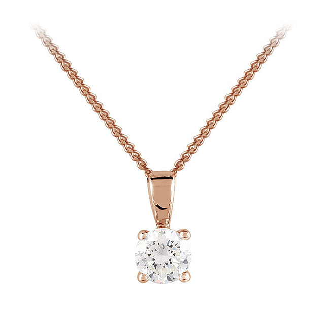 9ct Rose Gold 0.33ct 4 Claw Diamond Pendant