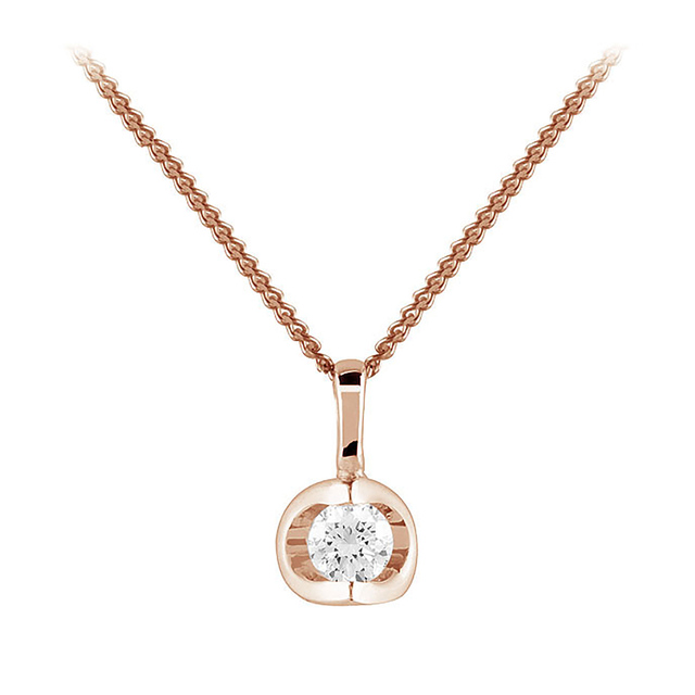 9ct Rose Gold 0.10ct Tension Set Diamond Pendant